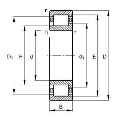 60 mm x 110 mm x 22 mm  FAG NJ212-E-TVP2 Rolamentos cilíndricos