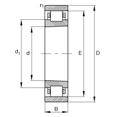 65 mm x 100 mm x 18 mm  FAG N1013-K-M1-SP Rolamentos cilíndricos