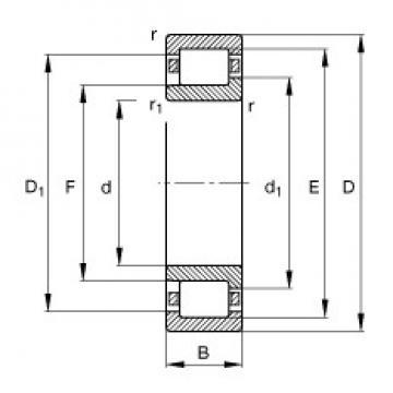 190 mm x 340 mm x 55 mm  FAG NJ238-E-M1 Rolamentos cilíndricos