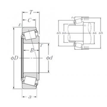 66,675 mm x 136,525 mm x 41,275 mm  NTN 4T-641/632 Rolamentos de rolos gravados